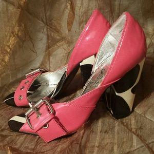 Naughty Monkey Hot Pink Leather Heels sz 7